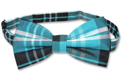 Vesuvio Napoli BowTie Black Turquoise White Color Plaid Mens Bow Tie