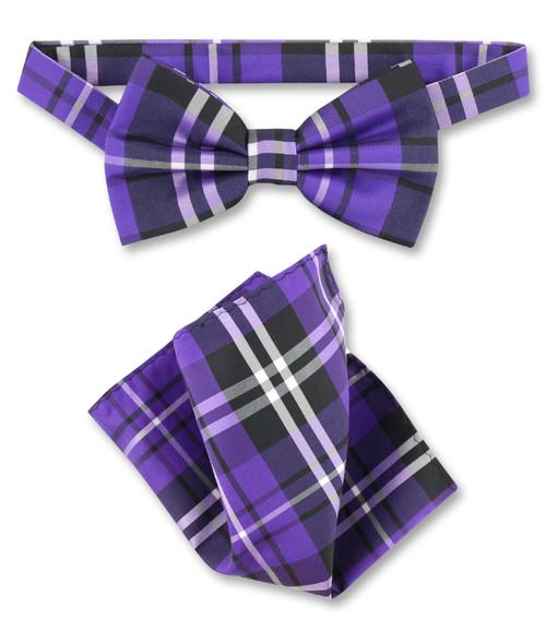 Purple Black White Plaid Bow Tie Handkerchief Set | BowTie Set