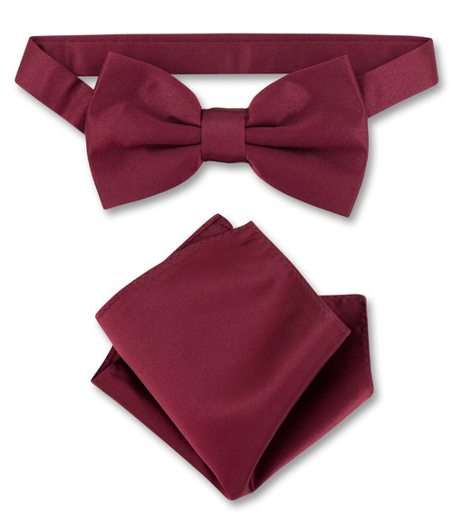Burgundy Bow Tie And Handkerchief Set | Mens Bowtie Hanky Set