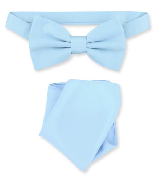 Baby Blue Bow Tie And Handkerchief Set | Baby Blue Bowtie Set
