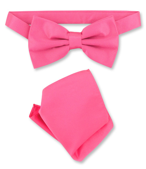 Hot Pink Bow Tie And Handkerchief Set | Mens Fuchsia Bowtie Set