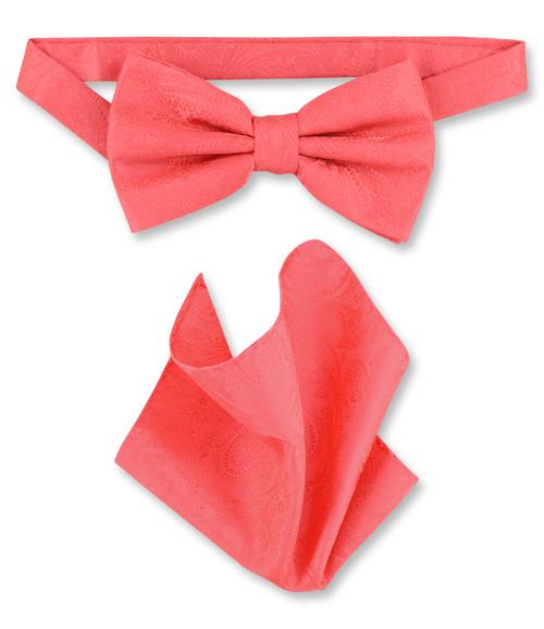 Coral Pink Paisley Bow Tie Handkerchief Set | Mens BowTie Set