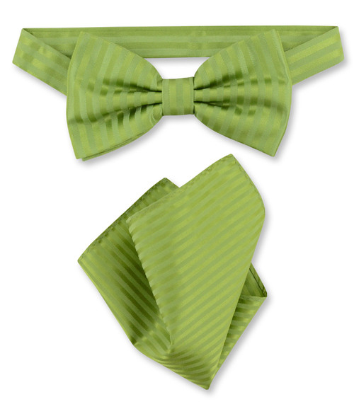 Olive Green Vertical Stripes Bow Tie Handkerchief Set | BowTie Set