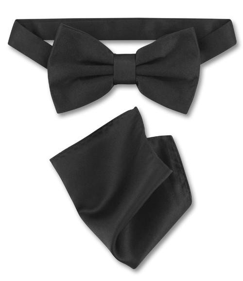 Black Bow Tie And Handkerchief Set   Mens Solid Black Bowtie Set