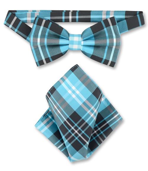 Black Turquoise White Plaid Bow Tie Handkerchief Set | BowTie Set
