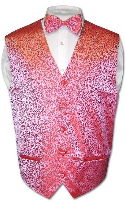 Antonio Ricci Mens Paisley Dress Vest Bow Tie Red BowTie Set sz XL