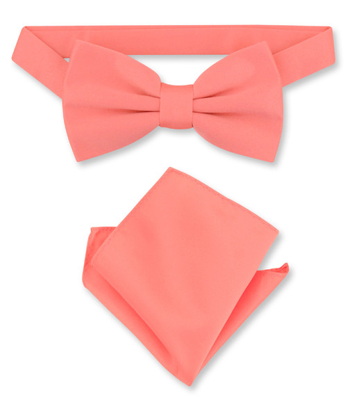 Coral Pink Bow Tie And Handkerchief Set | Mens Bowtie Set