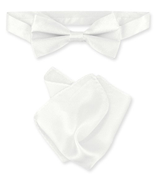 White Bow Tie And Handkerchief Set | Silk BowTie And Hanky Set