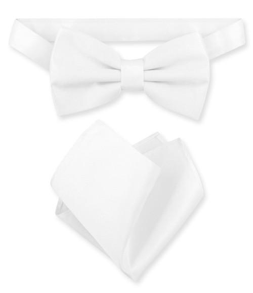 White Bow Tie And Handkerchief Set | Mens Solid White Bowtie Set