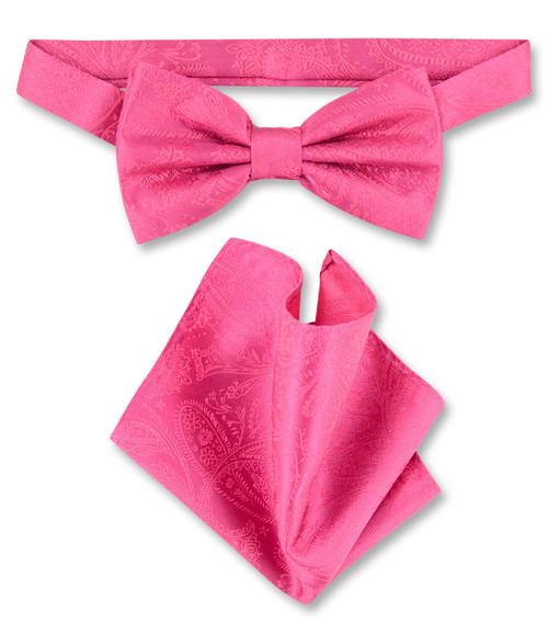 Hot Pink Fuchsia Paisley Bow Tie And Hanky Set | Mens BowTie Set