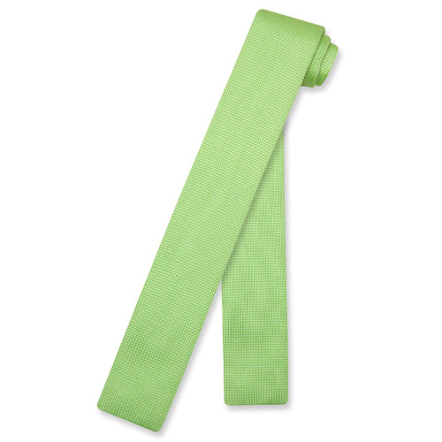 Lime Green Knit Neck Tie   Biagio Solid Color Knitted Mens NeckTie