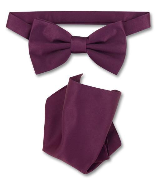 Eggplant Purple Bow Tie Handkerchief Set   Eggplant Purple Bowtie