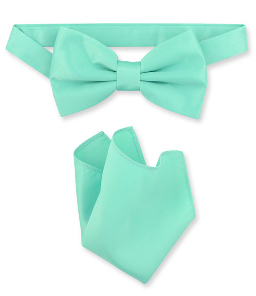 Aqua Green Bow Tie And Handkerchief Set | Mens Bowtie Set