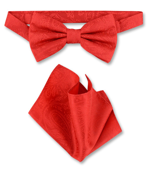 Red Paisley Bow Tie Handkerchief Set | Mens BowTie Hanky Set