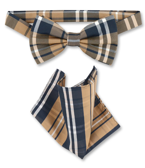 Navy Brown White Plaid Bow Tie Handkerchief Set | BowTie Set