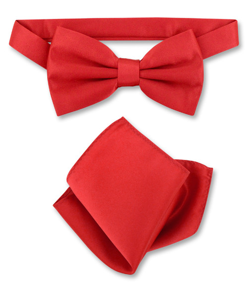 Red Bow Tie And Handkerchief Set | Mens Solid Red Bowtie Set