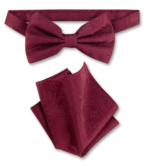 Burgundy Paisley Bow Tie And Handkerchief Set | Mens BowTie Set