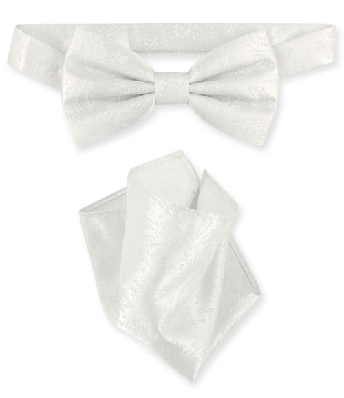 Off White Paisley Bow Tie And Handkerchief Set | Mens BowTie Set
