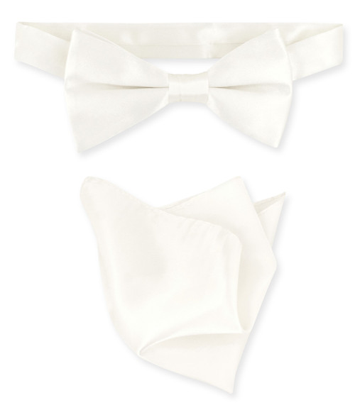Off-White Ivory Bow Tie Handkerchief Set | Silk BowTie Hanky Set