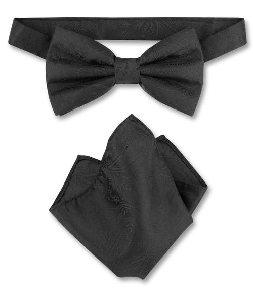 Black Paisley Bow Tie Handkerchief Set | Mens BowTie Hanky Set
