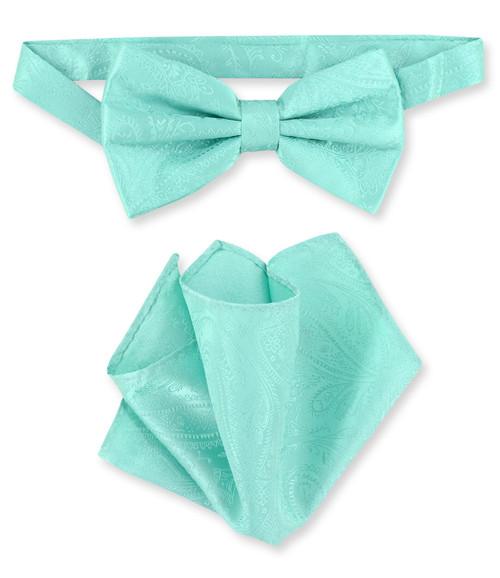 Aqua Green Paisley Bow Tie Handkerchief Set | Mens BowTie Set
