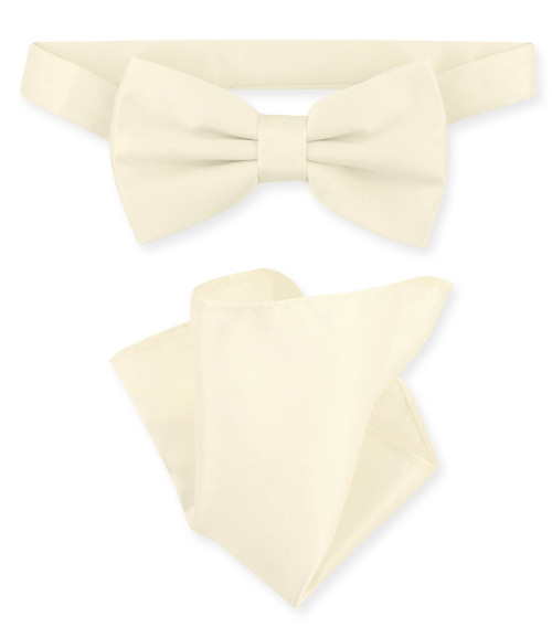 Cream Bow Tie And Handkerchief Set | Mens Cream Bowtie Set