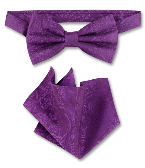 Eggplant Purple Paisley Bow Tie Hanky Set   Mens BowTie Set
