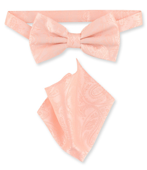 Peach Paisley Bow Tie Handkerchief Set   Mens BowTie Hanky Set