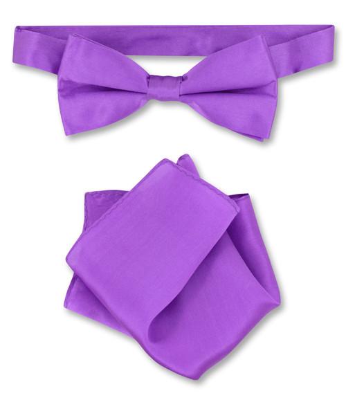 Purple Indigo Bow Tie Handkerchief Set | Silk BowTie Hanky Set