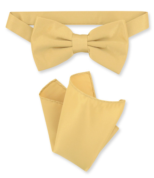 Gold Color Bow Tie And Handkerchief Set | Mens Gold Bowtie Set