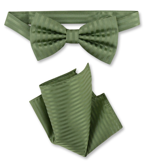 df65bb7928d1 Spinach Green Vertical Stripes Bow Tie Handkerchief | BowTie Set