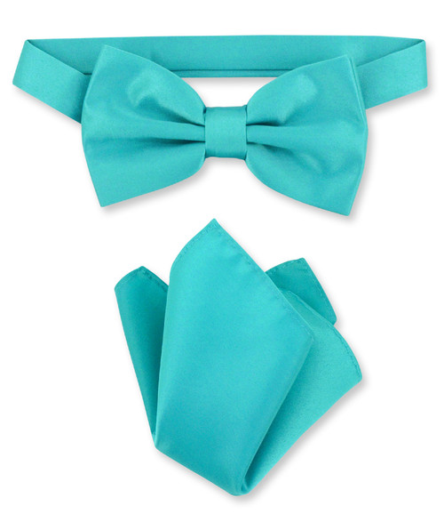 Teal Bow Tie And Handkerchief Set | Mens Teal Color Bowtie Set