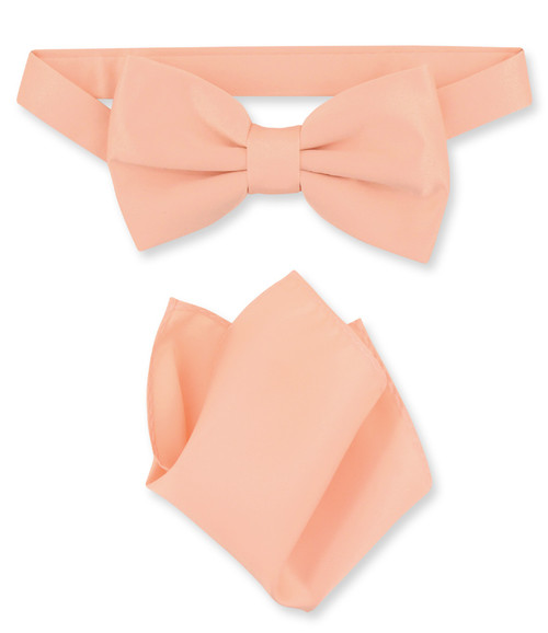 Peach Bow Tie And Handkerchief Set | Mens Peach Bowtie Set