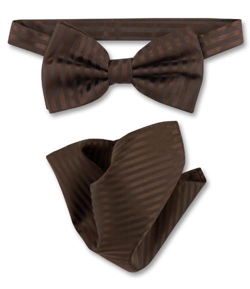 Chocolate Brown Vertical Stripe Bow Tie Handkerchief Set For Men