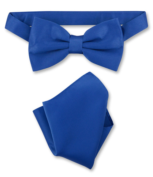 Royal Blue Bow Tie And Handkerchief Set | Royal Blue Bowtie Set