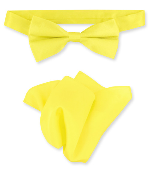 Yellow Bow Tie And Handkerchief Set | Silk BowTie And Hanky Set