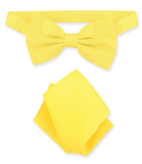 Golden Yellow Bow Tie Handkerchief Set   Golden Yellow Bowtie Set