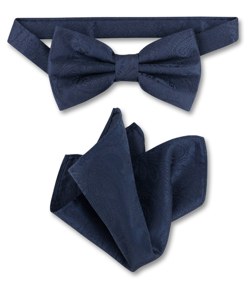 Navy Blue Paisley Bow Tie And Handkerchief Set | Mens BowTie Set