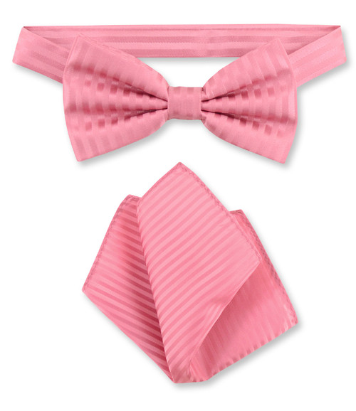 Coral Pink Vertical Stripes Bow Tie Handkerchief Set | BowTie Set