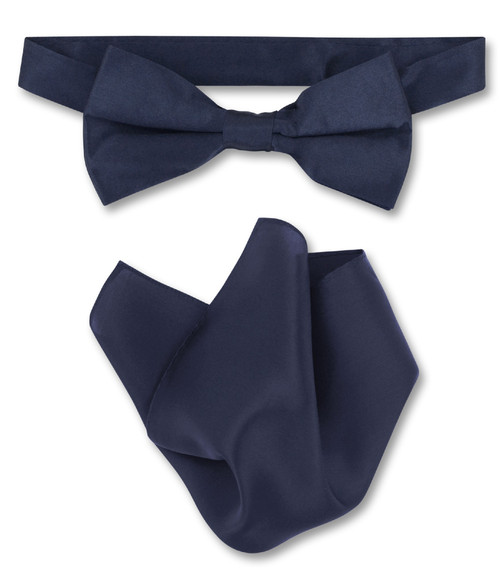 Navy Blue Bow Tie Handkerchief Set | Silk BowTie And Hanky Set