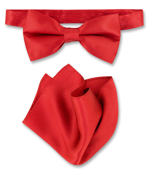 Dark Red Bow Tie And Handkerchief Set | Silk Bowtie Hanky Set