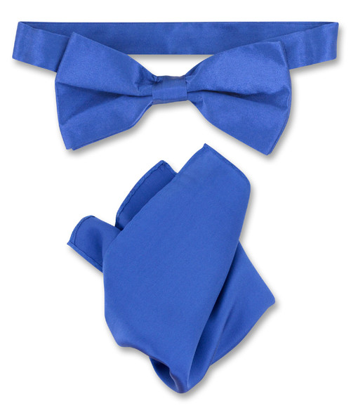 Royal Blue Bow Tie Handkerchief Set | Mens Silk BowTie Hanky Set