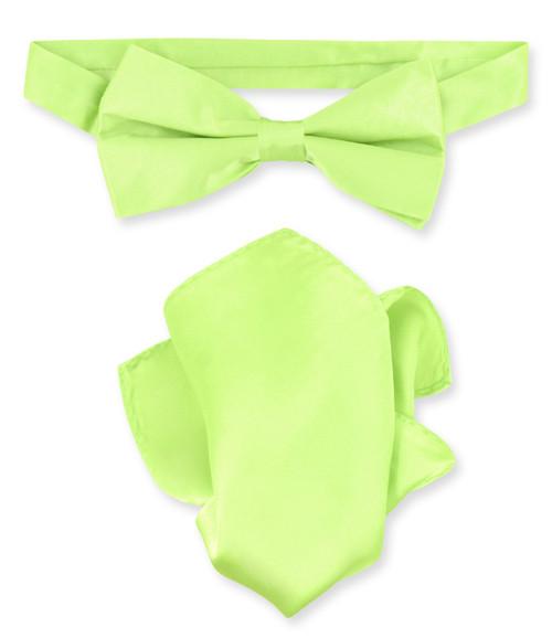 Lime Green Bow Tie Handkerchief Set   Silk BowTie And Hanky Set