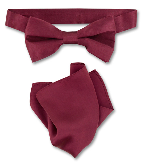 Burgundy Bow Tie Handkerchief Set | Silk BowTie And Hanky Set
