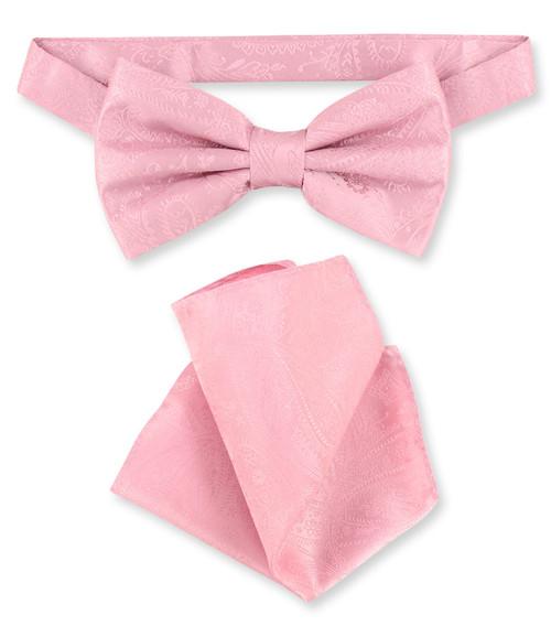 Pink Paisley Bow Tie Handkerchief Set   Mens BowTie Hanky Set