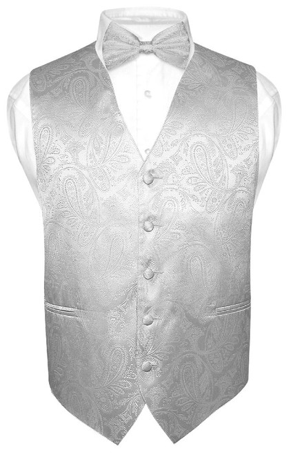 Silver Vest | Mens Paisley Design Dress Vest & Bow Tie