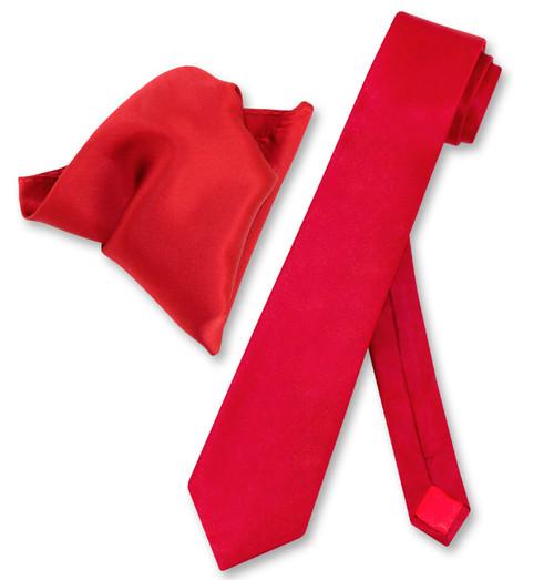 Mens Red Skinny Tie Handkerchief Set   Silk Necktie And Hanky Set