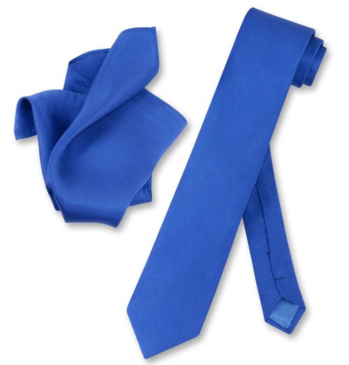 Royal Blue Skinny Tie Handkerchief Set | Silk Necktie And Hanky Set