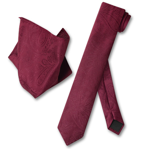 Burgundy Paisley Skinny Tie Handkerchief Set   Necktie Hanky Set