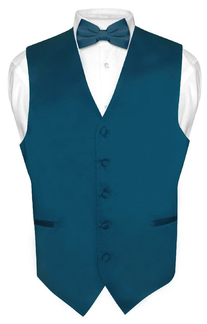 Mens Dress Vest & BowTie Solid Blue Sapphire Color Bow Tie Set